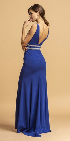 Royal Blue V-Neck Embellished Long Prom Dress