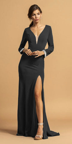 Black V-Neck Long Formal Dress with Slit