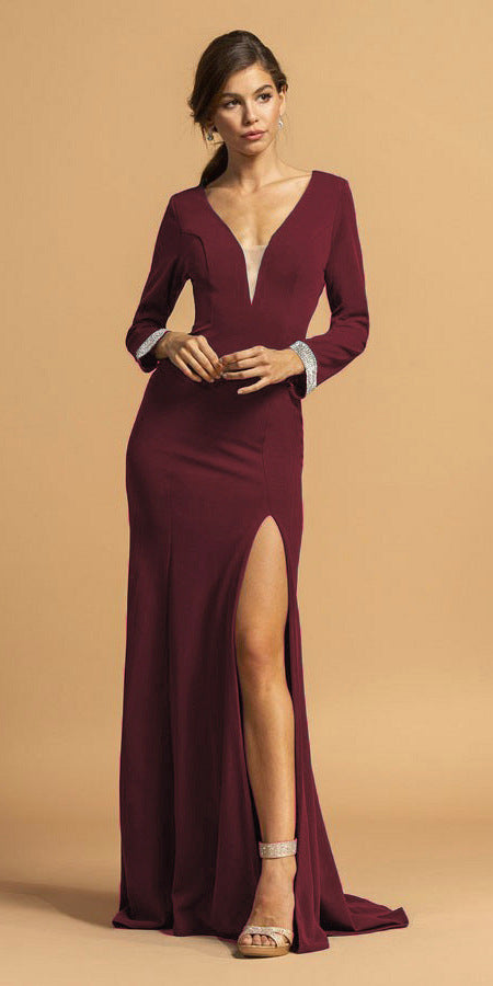 Burgundy V-Neck Long Formal Dress with Slit