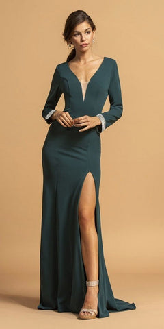 Long Fitted Metallic Gown Platinum Criss-Cross Beaded Back Leg Slit