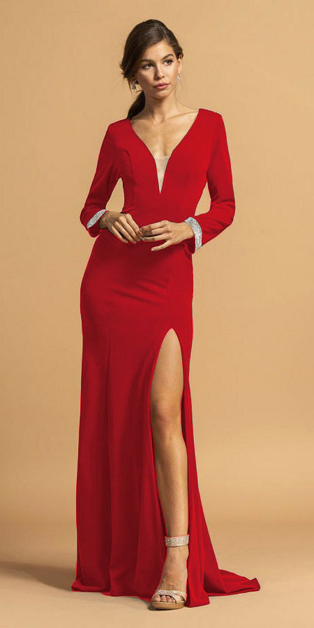 Red V-Neck Long Formal Dress with Slit
