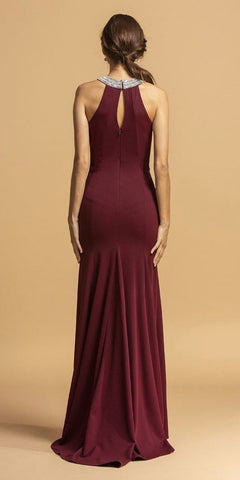 Embellished Neckline Long Prom Dress with Slit Burgundy