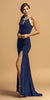 Embellished Neckline Long Prom Dress with Slit Navy Blue