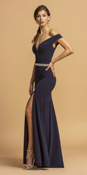 Deep Neckline Navy Blue Off-Shoulder Long Prom Dress