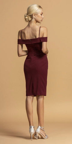 Burgundy Cold-Shoulder Short Wedding Guest Dress