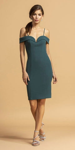 Hunter Green Cold-Shoulder Short Wedding Guest Dress