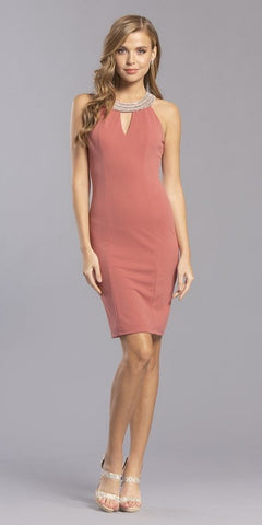 Marsala Sleeveless Short Party Dress with Keyhole