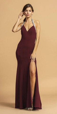 Halter V-Neck Burgundy Long Prom Dress with Slit