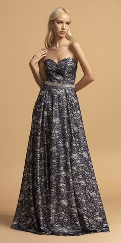 Sweetheart Neckline A-Line Long Prom Dress Navy Blue