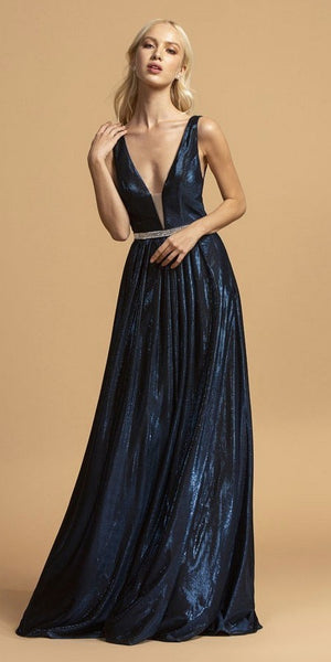 Deep V-Neck Long Prom Dress Navy Blue