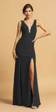 V-Neck and Back Long Formal Dress with Slit Black