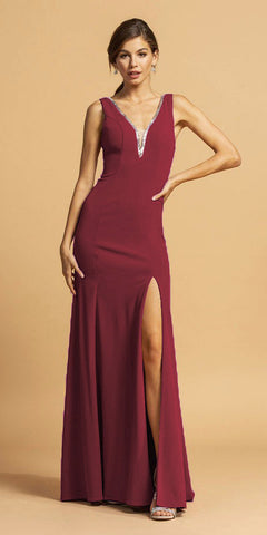 Lace Sheath Prom Dress Burgundy Long High Slit