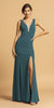 V-Neck and Back Long Formal Dress with Slit Hunter Green