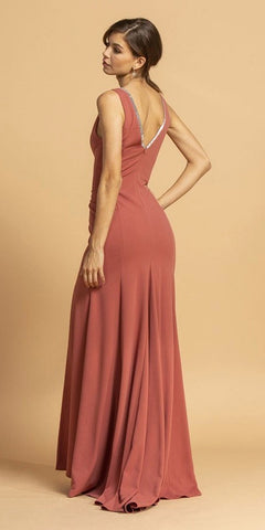 V-Neck and Back Long Formal Dress with Slit Marsala