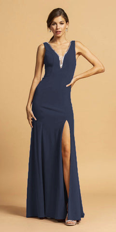 V-Neck and Back Long Formal Dress with Slit Navy Blue