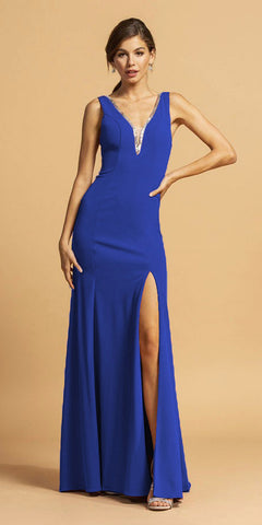Floor Length Strapless Glitter Gown Dark Royal Pointed Sweetheart Neckline Leg Slit