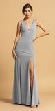 V-Neck and Back Long Formal Dress with Slit Silver