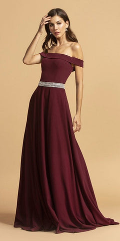 Off-Shoulder A-Line Long Formal Dress Hunter Green