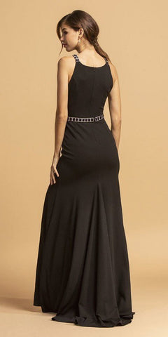 Black Embellished Long A-Line Prom Dress with Slit