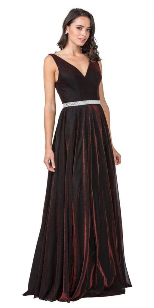 V-Neck and Back Velvet Long Prom Dress Burgundy