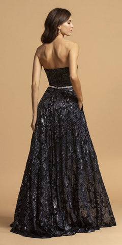Navy Blue Long Prom Dress Sweetheart Neckline with Pockets