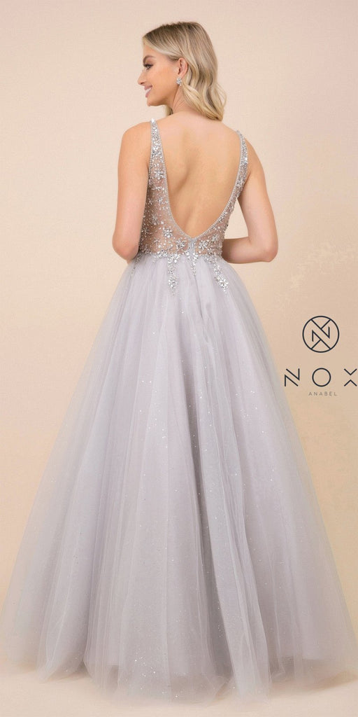 Silver Beaded Illusion Bodice Prom Ball Gown
