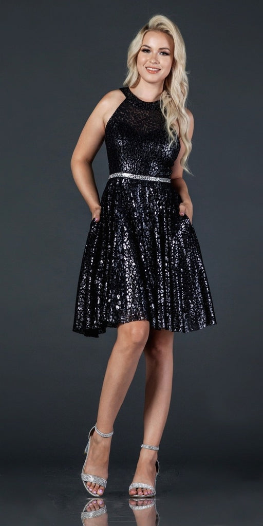 Aspeed D327 Embellished Waist Black Halter Homecoming Short Dress