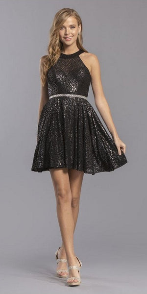 Embellished Waist Black Halter Homecoming Short Dress