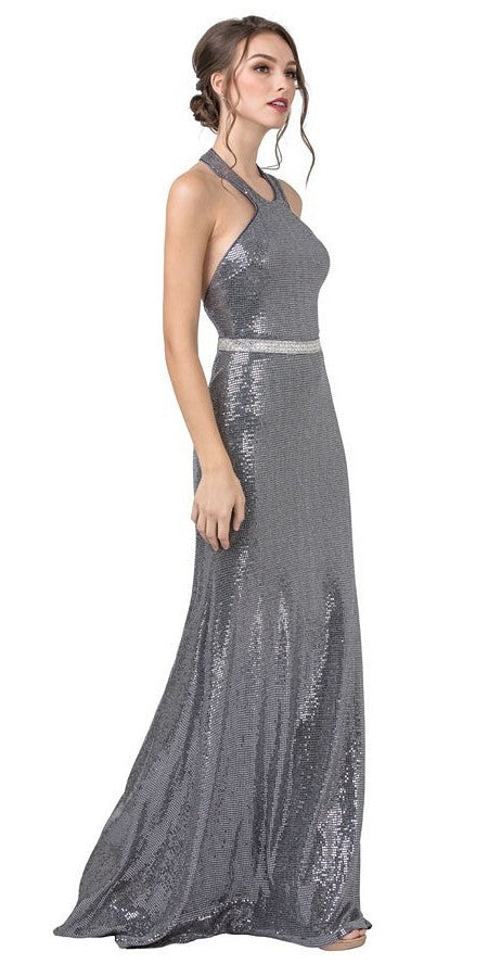 Sequins Halter Silver Long Prom Dress with Open-Back