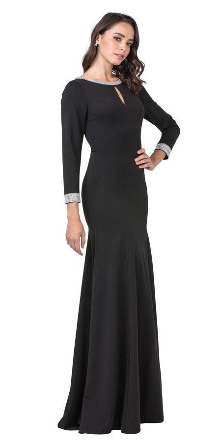 Long Sleeved Black Long Formal Dress with Lace-Up Back