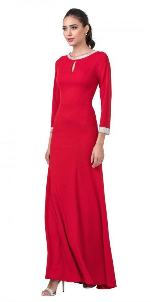 Long Sleeved Red Long Formal Dress with Lace-Up Back