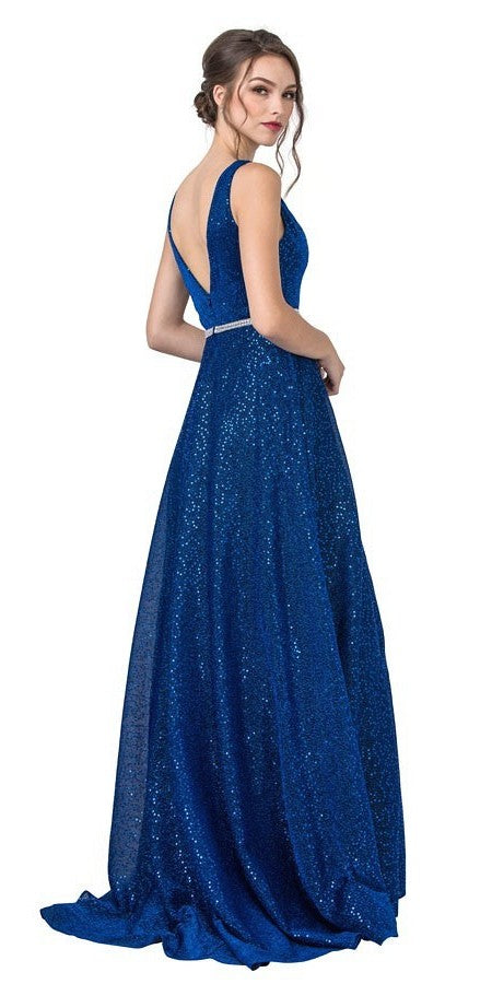 V-Neck and Back Sequins Long Prom Dress Royal Blue