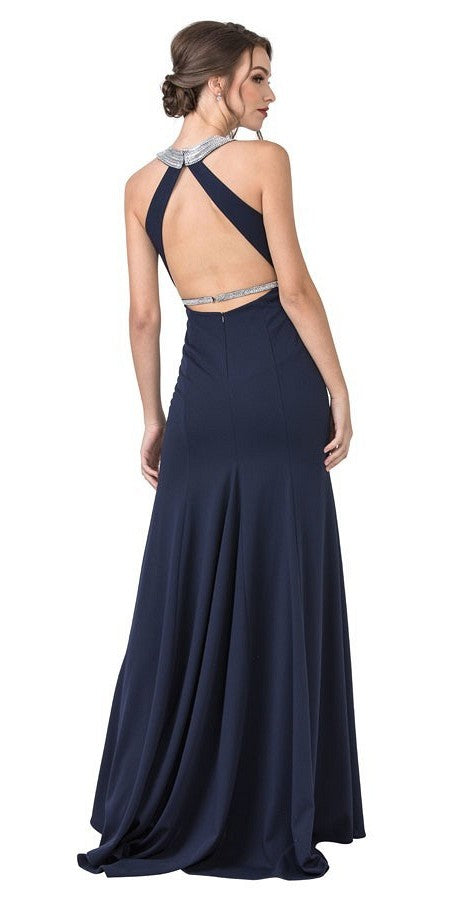 Open Cut-Out Back Navy Blue Long Prom Dress with Slit