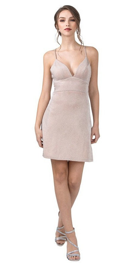 Blush Homecoming Short Dress Crisscross Back