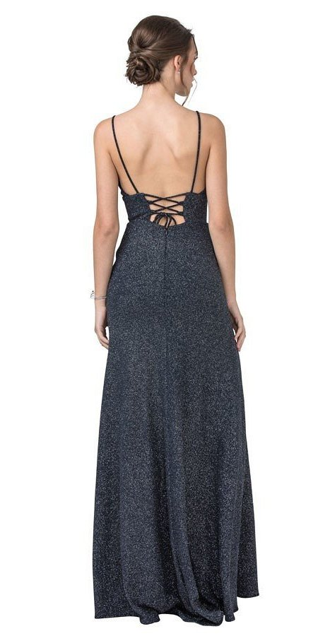 Navy Blue Long Prom Dress with Lace-Up Back and Slit