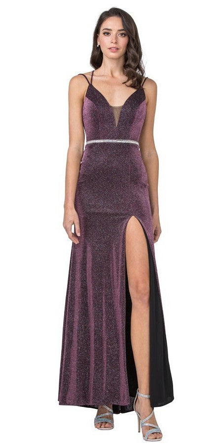 Plum Glittering Long Prom Dress Strappy Back with Slit