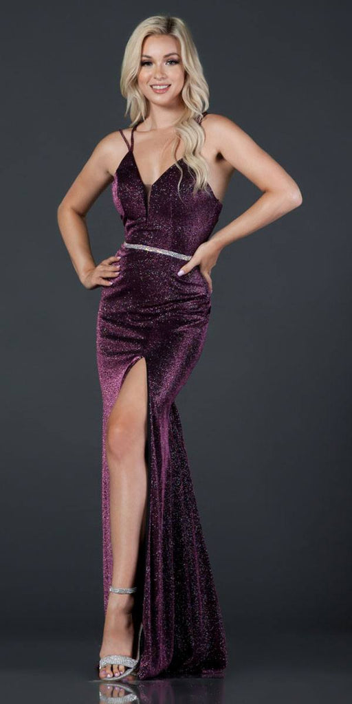 Aspeed D418 Plum Glittering Long Prom Dress Strappy Back with Slit