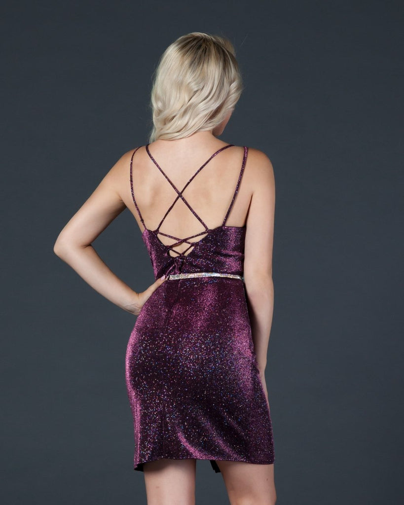 Aspeed D419 Plum V-Neck Short Party Dress with Strappy Back