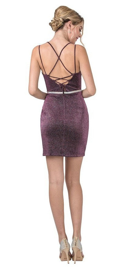 Plum V-Neck Short Party Dress with Strappy Back