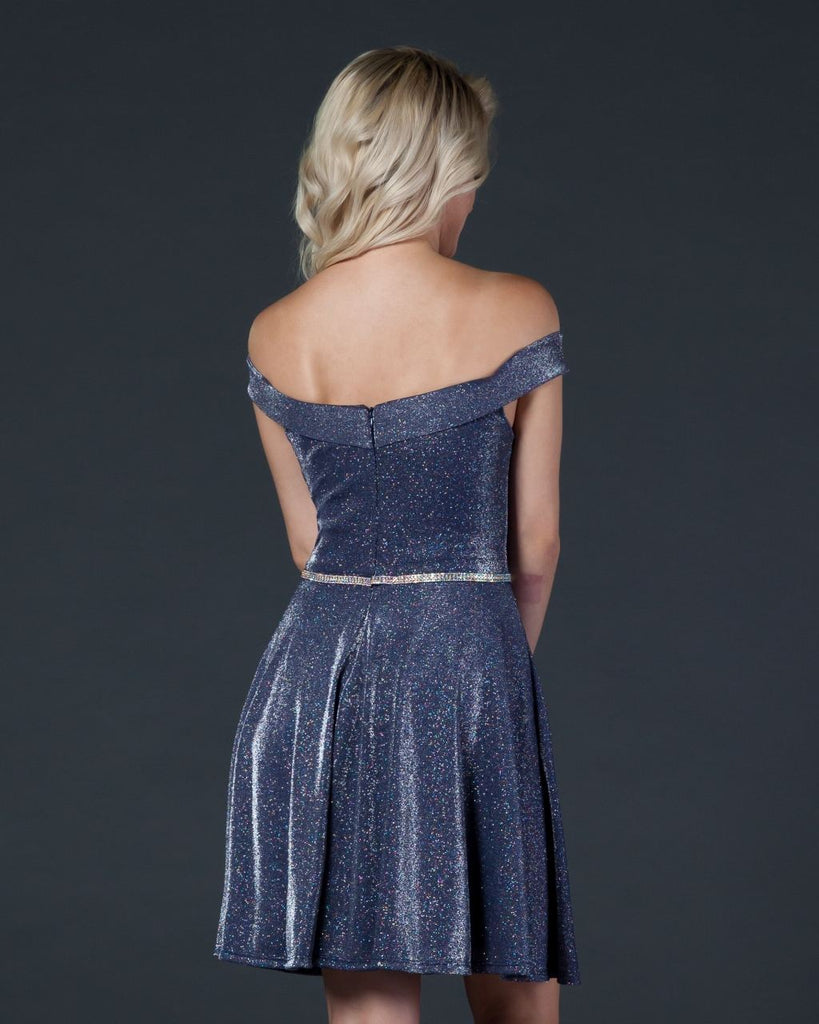 Aspeed D420 Glitter-Knit Off-Shoulder Homecoming Short Dress Blue