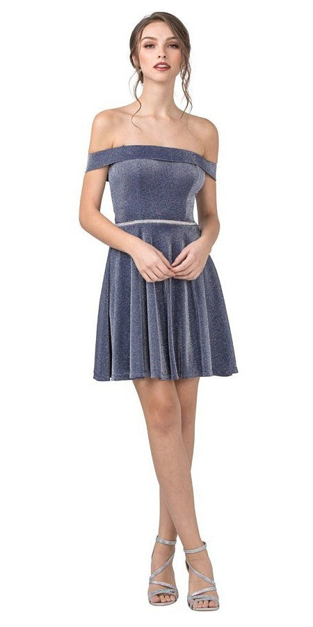 Glitter-Knit Off-Shoulder Homecoming Short Dress Blue