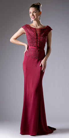 Burgundy Boat Neck Beaded Long Formal Dress