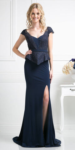 Navy Blue Peplum Long Formal Dress with Slit
