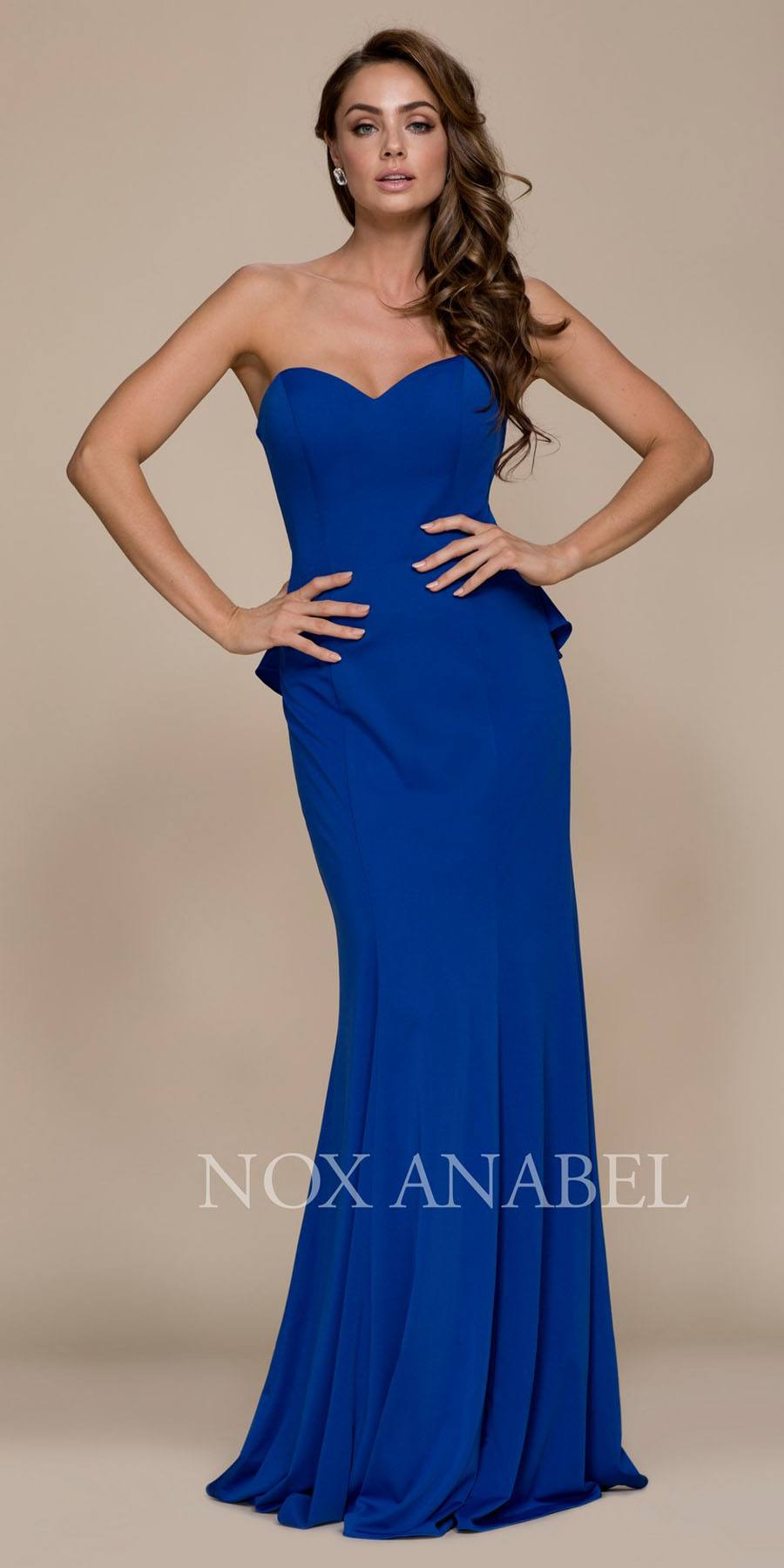 fbcd9c84e80f Strapless Long Prom Dress Cut Out Back with Ruffled Bustle Royal Blue. Tap  to expand