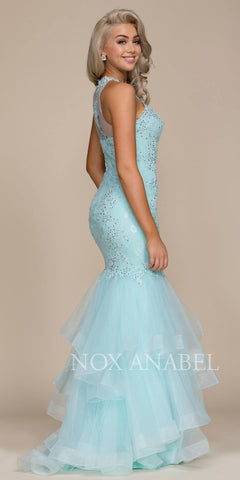 Illusion High Neckline Tiered Mermaid Prom Gown Aqua