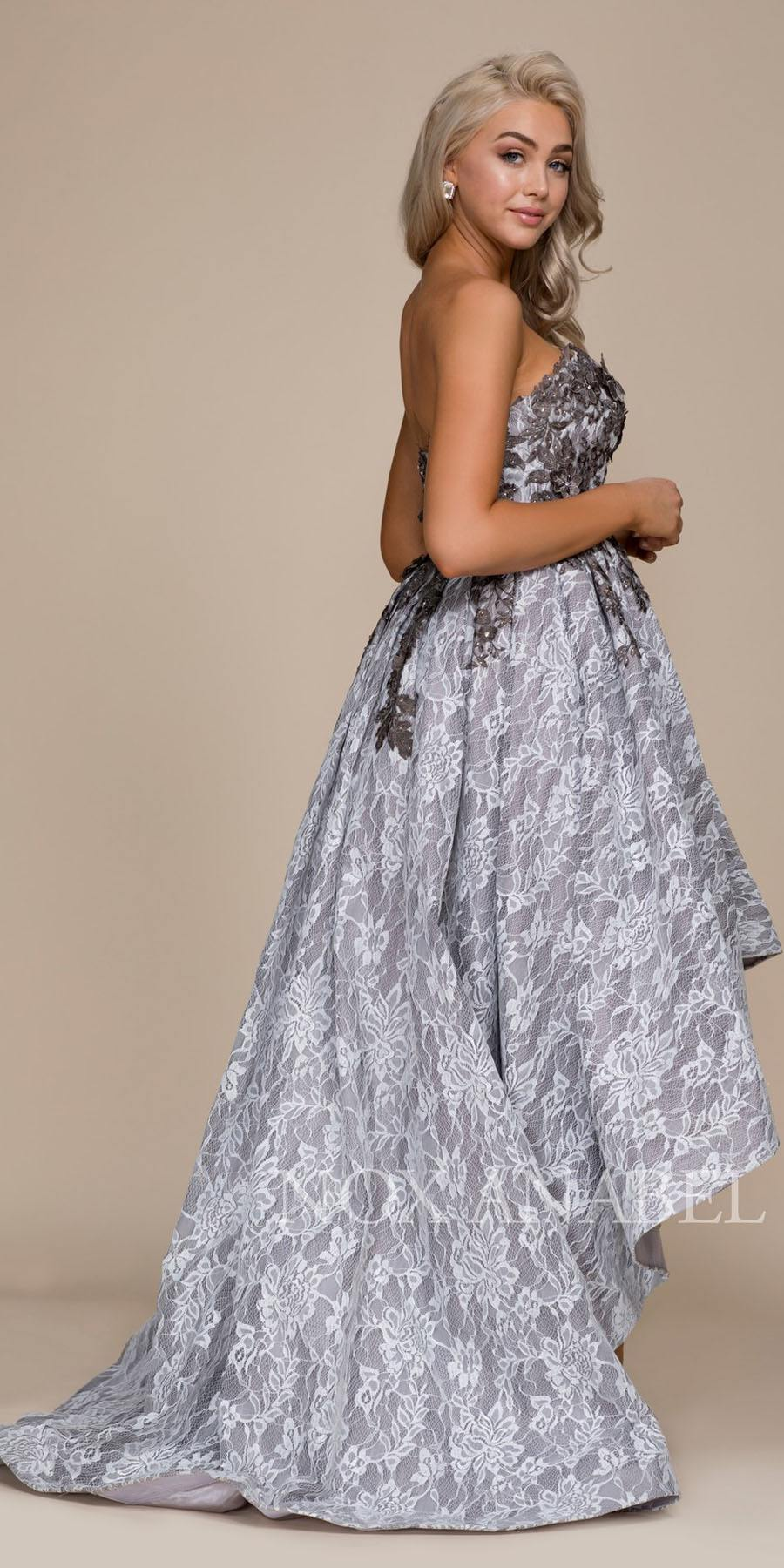 Gray Strapless High-Low Prom Dress with Appliqued Bodice ...