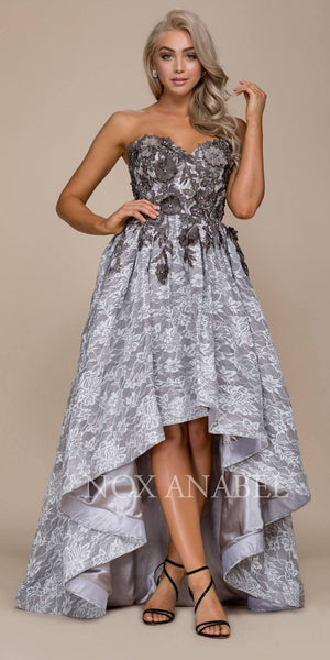 Gray Strapless High-Low Prom Dress with Appliqued Bodice