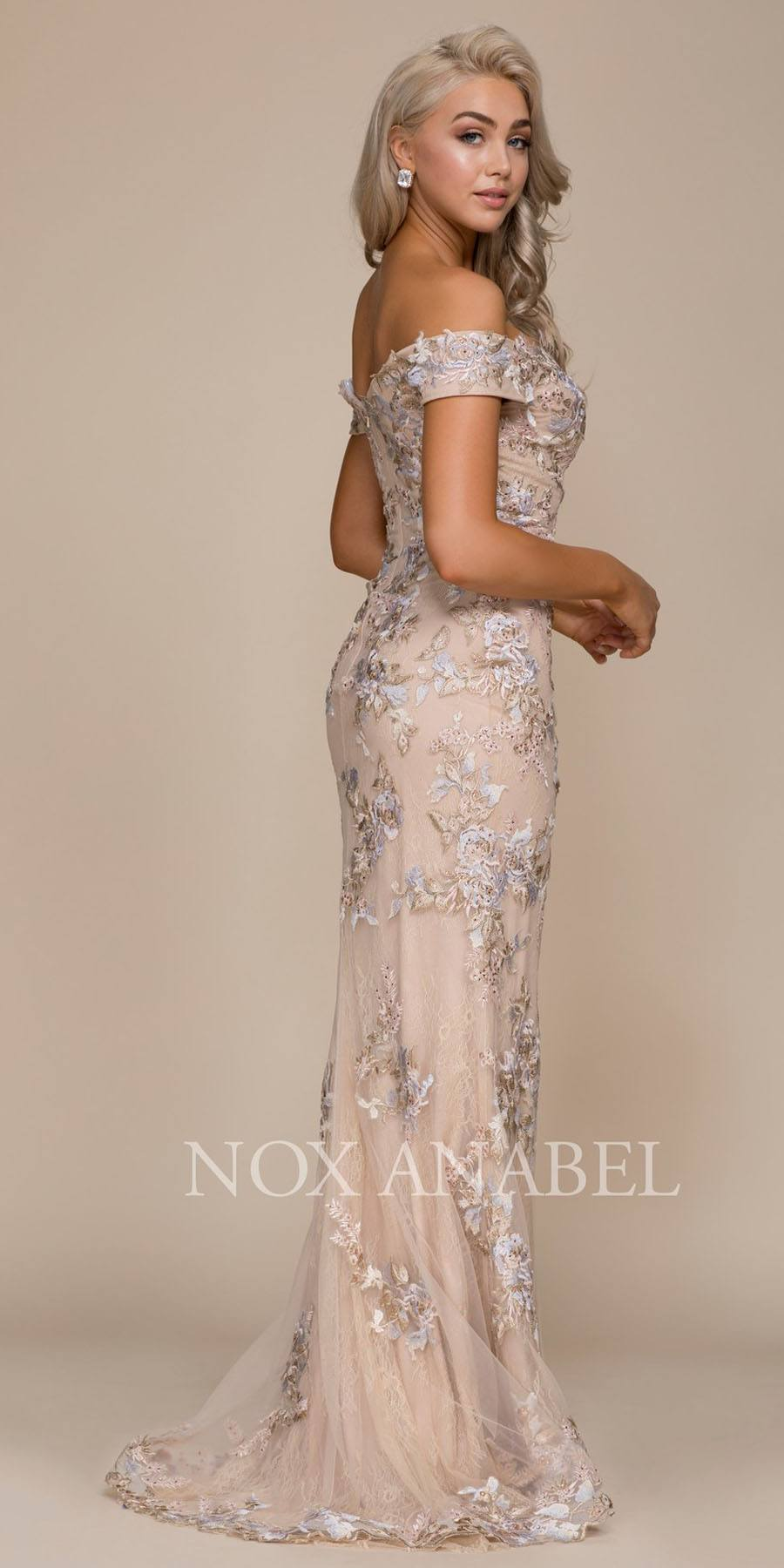 Embroidered Off-the-Shoulder Mermaid Evening Gown Nude ...