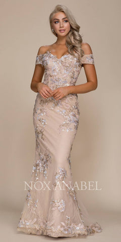 Embroidered Off-the-Shoulder Mermaid Evening Gown Nude