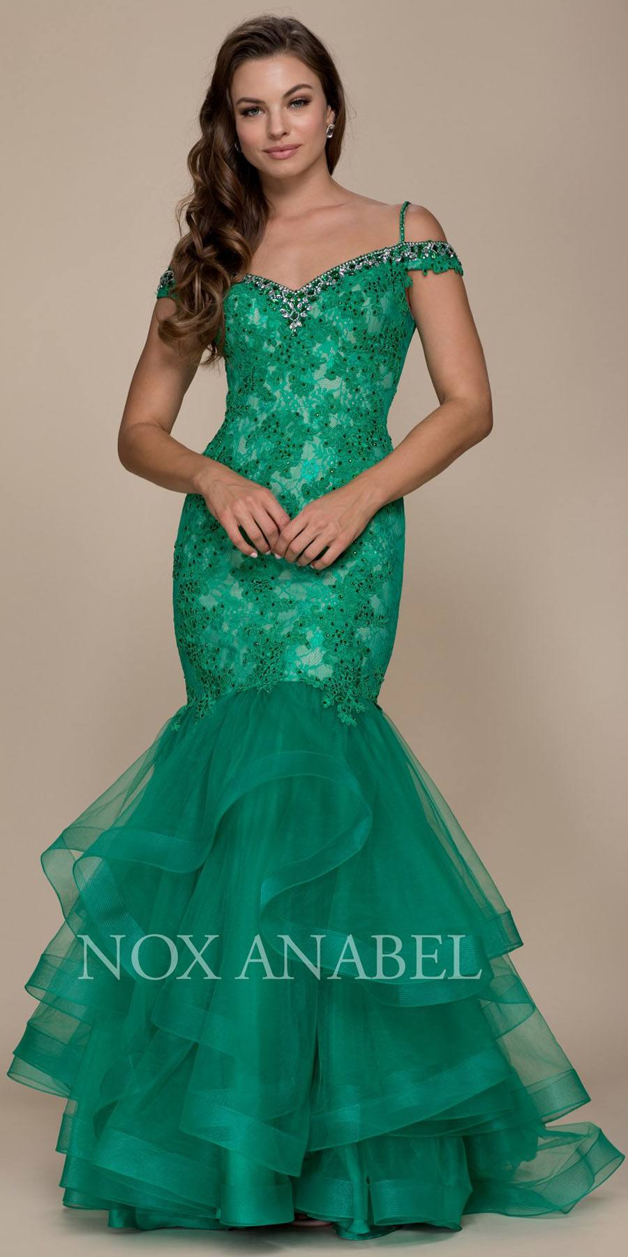 Cold Shoulder Tiered Mermaid Long Prom Dress Navy Blue ...
